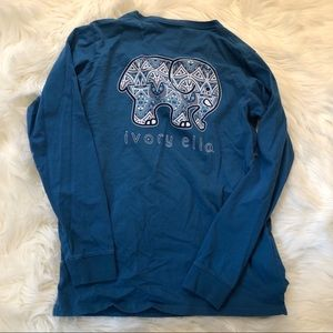 Ivory Ella Turquoise Elephant Long Sleeve Shirt